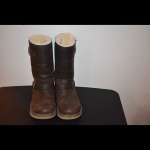 BROWN LEATHER MOTO BOOTS BY UGG * SIZE 10M *